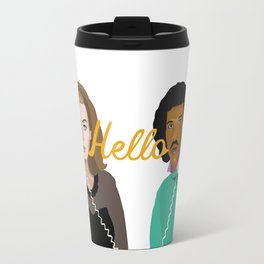 Two People Saying Hello - By Cup of Sarcasm Travel Mug