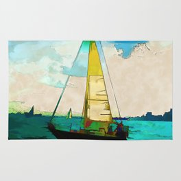 Night Sailing  -  Sailboats Rug