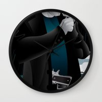 dwight schrute Wall Clocks featuring Sin City-Dwight by Szoki