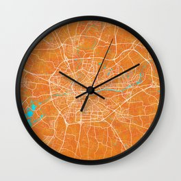 Rennes, France, Gold, Blue, City, Map Wall Clock