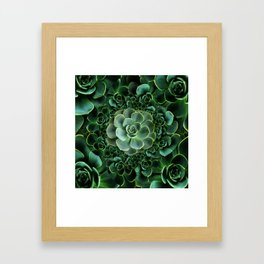 ORNATE JADE & DARK GREEN SUCCULENT  GARDEN Framed Art Print