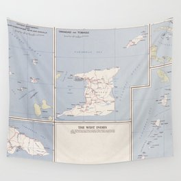Vintage Map of The West Indies (1958) Wall Tapestry