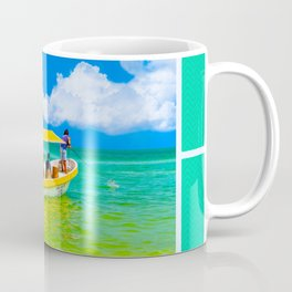 Yellow Boat Preparing To Cast Off On Tropical Waters Coffee Mug