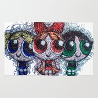 powerpuff girls Area & Throw Rugs featuring powerpuff girls doodle/scribble by Patricia Pedroso