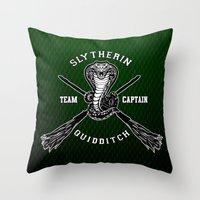 quidditch Throw Pillows featuring Slytherin quidditch team iPhone 4 4s 5 5c, ipod, ipad, pillow case, tshirt and mugs by Three Second