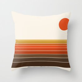 Peace Out - sunset ocean surfing beach life 70s style retro 1970s design Throw Pillow