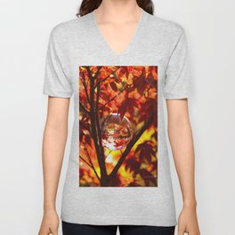 Red autumn foliage in the world of a globe Unisex V-Neck