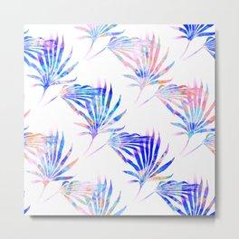 Palmetto Fronds Tropical Pattern Pink Blue Metal Print