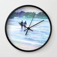 boys Wall Clocks featuring Surfer Boys by Teresa Chipperfield Studios