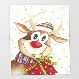 Funny Christmas Deer Red Nose Stars Throw Blanket