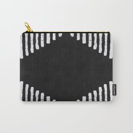 Diamond Stripe Geometric Block Print in Black and White Carry-All Pouch