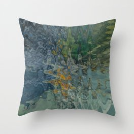 Abstract Forest Lake Reflections Throw Pillow
