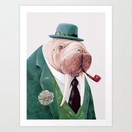 Walrus Green Art Print