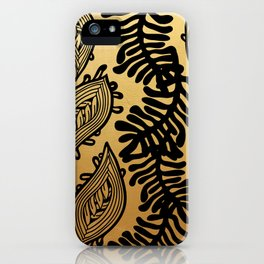 Black and Gold Leafy Vines iPhone Case