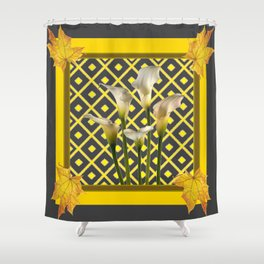 Charcoal Grey-Gold White Calla Lilies Shower Curtain