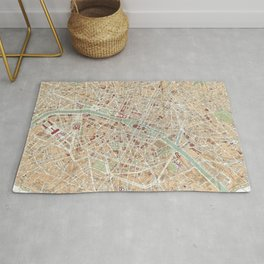 Vintage Map of Paris (1892) Rug