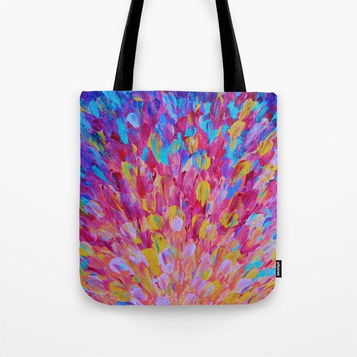 SPLASH, Revisited - Bold Beautiful Feminine Romance Ocean Beach Waves Magenta Plum Turquoise Crimson Tote Bag
