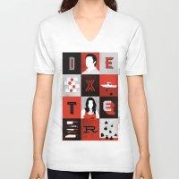 dexter V-neck T-shirts featuring Dexter by Bill Pyle