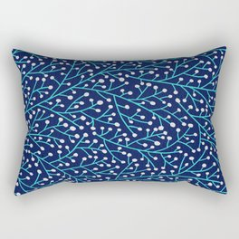 Berry Branches - Turquoise on Navy Rectangular Pillow