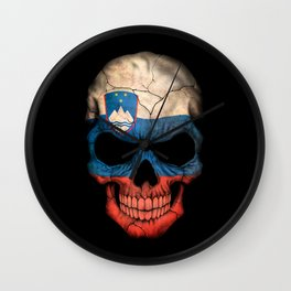 Dark Skull with Flag of Slovenia Wall Clock