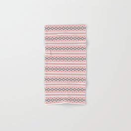 Folk Slavic Ornament - Strength of the Seeding Field - Pixel Ethno Pattern Hand & Bath Towel