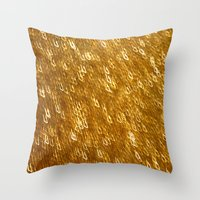 gold glitter Throw Pillows featuring Gold Glitter 1324 by Cecilie Karoline
