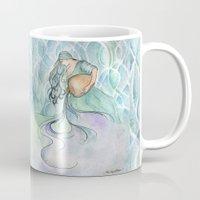 aquarius Mugs featuring Aquarius by Aline Souza de Souza
