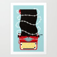 write Art Prints featuring Typer Write by Dorian Danielsen
