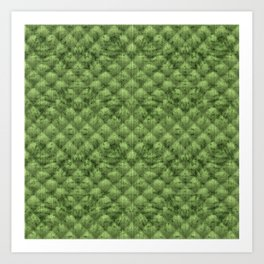 Quilted Bright Leaf Green Velvety Pattern Art Print