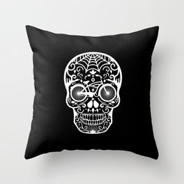 Vintage Mexican Skull with Bicycle - White on Black Throw Pillow
