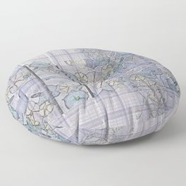 Plaid Tartan & Morning Glories Floor Pillow