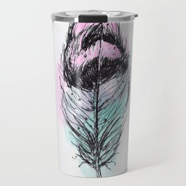 AP078 Watercolor feather Travel Mug