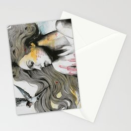Monument (long hair girl with bird and skyline tattoo) Stationery Cards