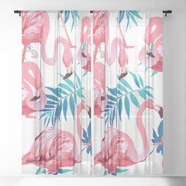 Flamingos & Blue Tropical Leaves Sheer Curtain