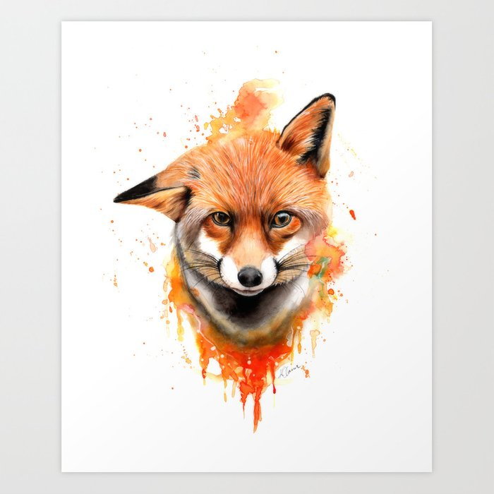 Fox Watercolour Painting Art Print By Kieran13 Society6