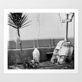 Grave with rose Art Print