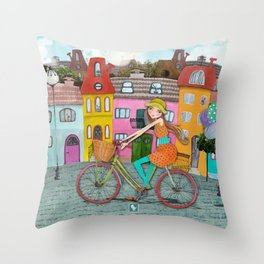 Bicycle and Balloons Throw Pillow