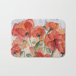 Burnt Orange Salmon Field of Poppies watercolour by CheyAnne Sexton Bath Mat