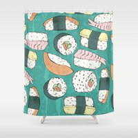 sushi Shower Curtains featuring Sushi by Abi Woodhouse