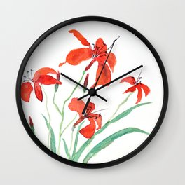 orange day lily Wall Clock