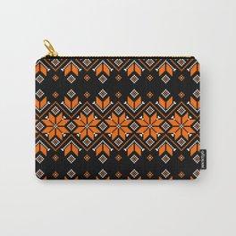 Wellspring - Star Alatyr - Ethno Ukrainian Traditional Pattern - Slavic Symbol - Orange Black Brown Carry-All Pouch