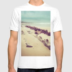 Blue Ocean Beach Rocks in Oregon MEDIUM White Mens Fitted Tee