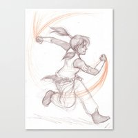 the legend of korra Canvas Prints featuring Korra by AndytheLemon