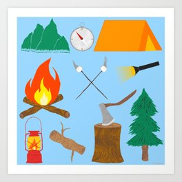 Let's Explore The Great Outdoors - Light Blue Art Print