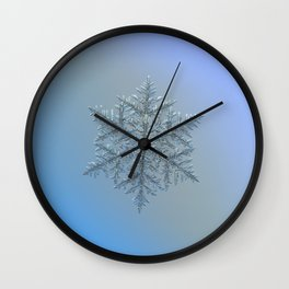 Real snowflake macro photo - Majestic crystal Wall Clock