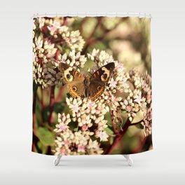 Buckeye Butterfly On Pale Pink Flowers Shower Curtain