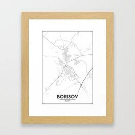 Minimal City Maps - Map Of Borisov, Belarus. Framed Art Print
