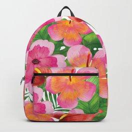 Tropical Flowers in Watercolor Backpack