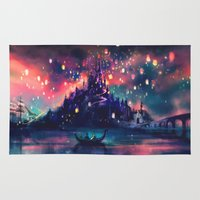 castle in the sky Area & Throw Rugs featuring The Lights by Alice X. Zhang