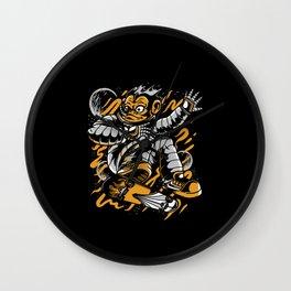 Monkey Space Skateboarder Gift Idea Design Motif Wall Clock